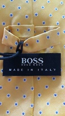 Hugo Boss NEW Black Label Tie Sunflower Yellow With Lavender Dots 7.5 cm $95 NWT