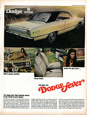 1968 Dodge Dart -383 4 Barrel V-8-Original 13.5 * 10.5 Magazine Ad-Groovy Roomy