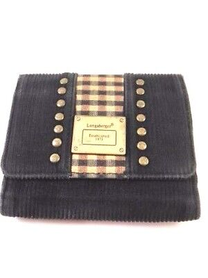 Longaberger Baskets Homestead Corduroy Trifold Womens Small Wallet Coin Purse