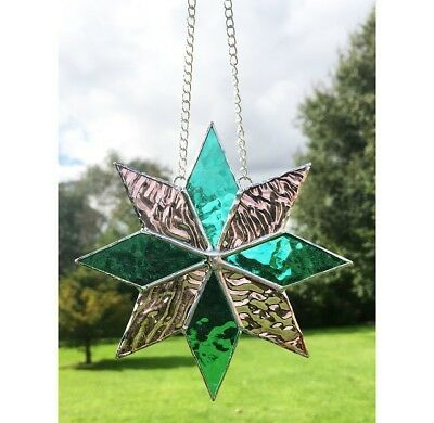 Handmade Stained Glass Star Suncatcher Tiffany Glass Technique, Pink & Turquoise