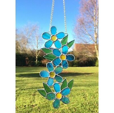 Handmade Stained Glass Blue Flower Forget Me Not Suncatcher Glass