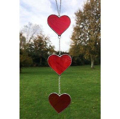 Handmade Stained Glass Love Heart Suncatcher, Red Glass Gifts Decoration