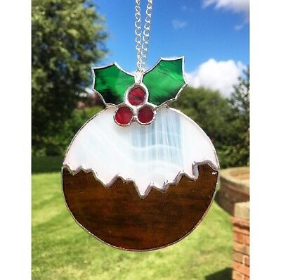 Handmade Stained Glass Christmas Pudding Decoration Suncatcher Glass