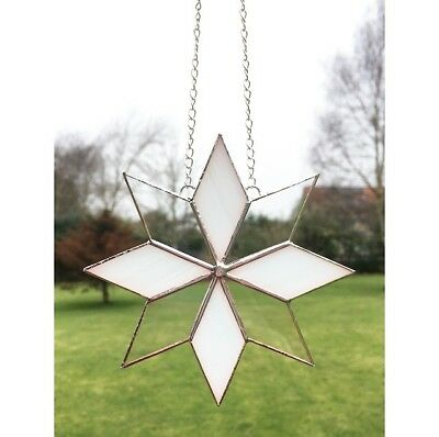 Handmade Stained Glass Star White Clear Glass Suncatcher Decoration