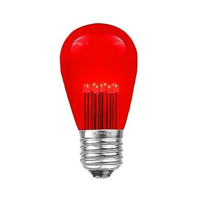 Novelty Lights 5 Pack LED S14 Outdoor Patio Edison Replacement Bulbs, Red, E26