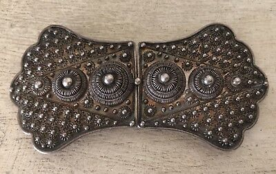 Vintage Antique Ornate 900 Sterling Silver Filigree Ladies Belt Buckle 17.7g