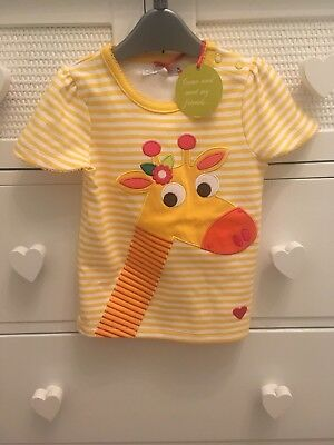 Bnwt OLIVE & MOSS Girls Giraffe Tshirt 1-2 Years 12-18-24 Mths New With Tags