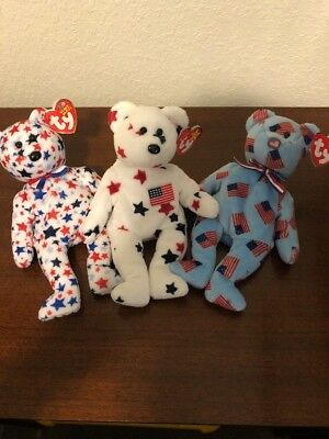 TY Beanie Babies Glory Union Red White Blue Bears 4th Of July Special