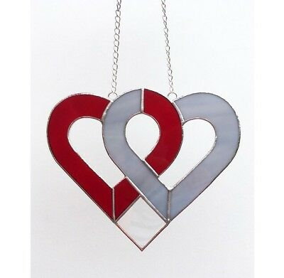 Handmade Stained Glass Love Heart Suncatcher, Red Grey Glass Gifts Decoration