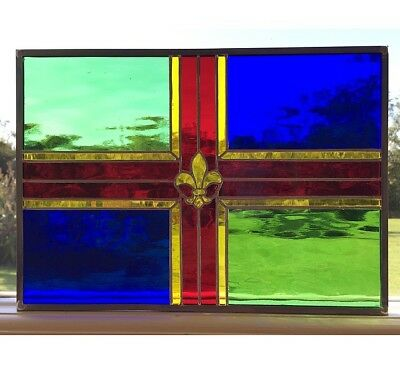 Hand Crafted Stained Glass Panel, Window, Suncatcher, Lincolnshire Flag Panel