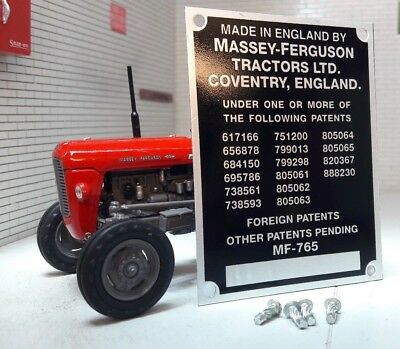 Massey Ferguson MF65 Tractor Serial Commission Chassis Plate & Rivets 1958-63