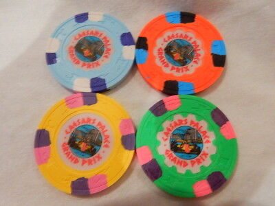XXXRare Caesars Palace GRAND PRIX CASINO CHIP SET (4) 1981...LV. NV.