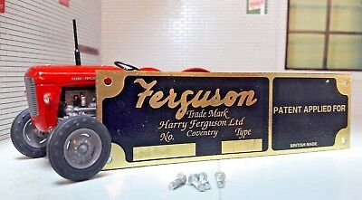 Harry Ferguson Tractor Brass Implement Chassis Patent Applied For Plate & Rivets