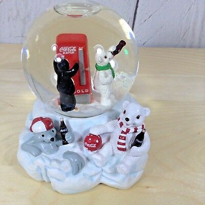 Coka Cole Polar Bear Club Music Snow Globe Collectible