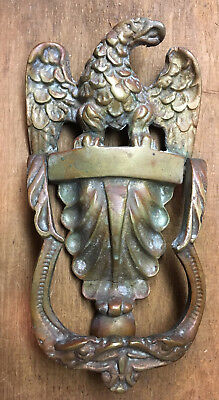 "Antique Victorian Classical AMERICAN EAGLE Heavy SOLID BRONZE 8"" DOOR KNOCKER"