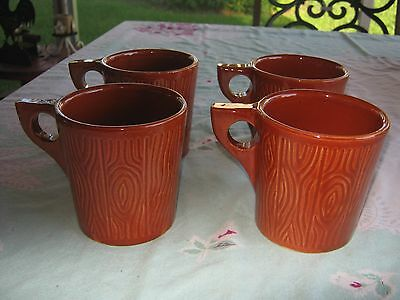 4 Watt Pottery Russet Woodgrain 621 W Coffee Cups