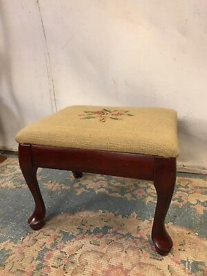 Foot Stool Antique Red Cherry.Floral Needlepoint Pad  See10pix4detail.MAKE OFFER