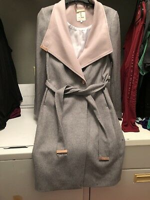 9aa1be04ce0a TED BAKER WOOL-CASHMERE Blend Wrap Coat Khera Jacket MSRP $572 UK Sz ...