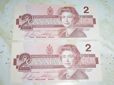 1986 Canada $2 Dollar 2 Consecutive Bills Bonin / Thiessen EGS