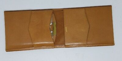 Vintage Amity Tan Leather Men's Wallet New with Registration Card