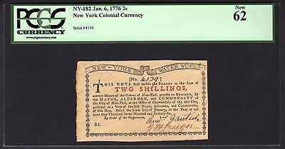 1776 2s New York Water Works Colonial Note PCGS 62 NY-182 Two Shillings