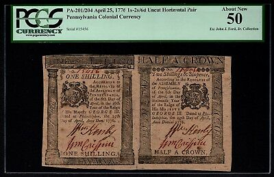 1776 Pennsylvania Colonial Currency Uncut Pair PCGS 50 PA-201/204 1s,2s&6d