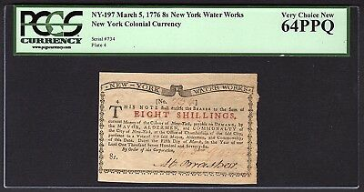 1776 8s New York Water Works Colonial Note PCGS 64 PPQ NY-197 Eight Shillings