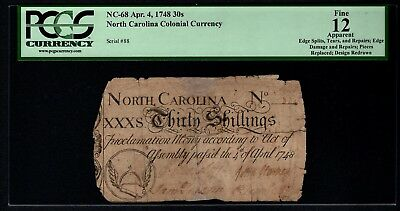 1748 North Carolina NC Colonial Note PCGS 12 APPARENT NC-68 30s Shillings