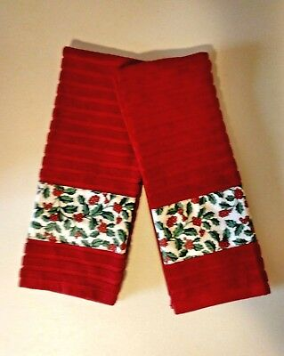 Longaberger Traditional Holly Fabric Handmade 2 Kitchen Dish Towels