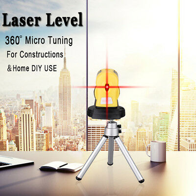 360° Rotary Laser Level Micro Tuning Cross Line Measuring Tool  Tripod Stand UK