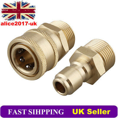 1 Pair M22 Quick Release Pressure Washer Adapter Connector Brass Coupler 14.8MM