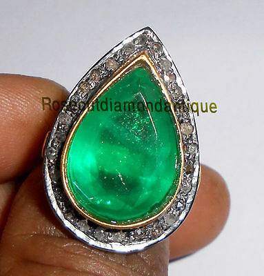 ESTATE HAND-MADE 0.60ct ANTIQUE ROSE CUT DIAMOND SILVER 925 VINTAGE EMERALD RING