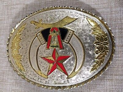 Shriners Raised Logo Silver Gold Red Western Oval Belt Buckle Masonic Freemason