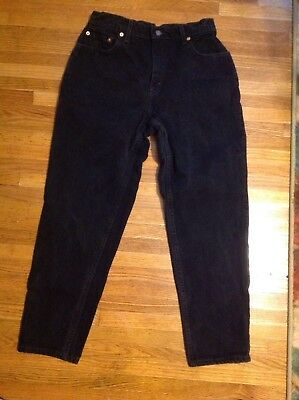 Vintage Womens Levis 551 Size 10 Pet M High Waist USA Relaxed Tapered Leg Black