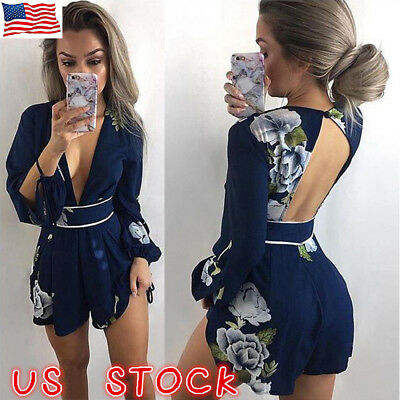 US Womens Holiday Mini Playsuit Ladies Floral Jumpsuit Romper Summer Beach Dress