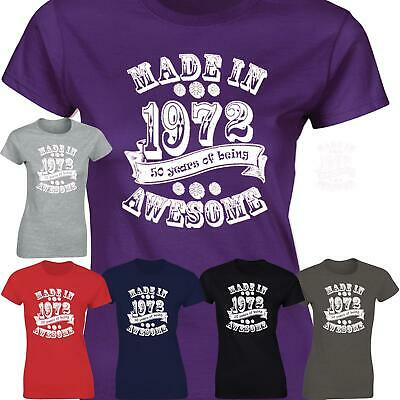 Awesome Made In 1969 Vintage Ladies Present Womens GIft 50th Birthday T Shirt