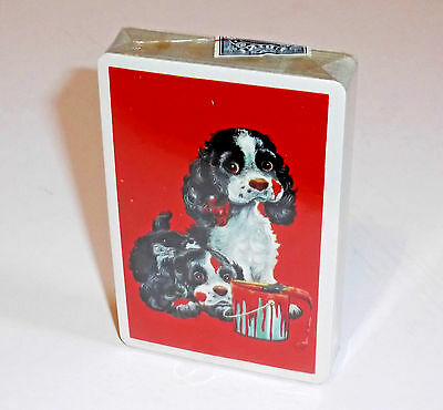 Vintage Pre-1965 COCKER SPANIEL PLAYING CARDS Sealed With Tax Stamp Red Paint