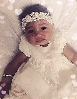 Baby Girl white Christening Headband Baptism Wedding Lace flower Pearl LilMoons