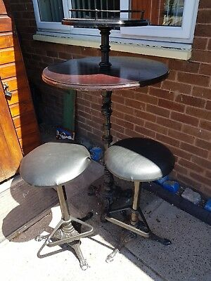 Vintage Cast Iron & Brass Mahogany Pub/Bar/Bistro High Table And Two Bar Stools