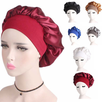 Women Satin Bonnet Cap Night Sleep Hair Protect Head Cover Wide Band Adjust Hats