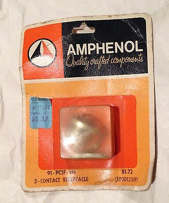 NOS AMPHENOL 91-PC3F 3 Contact Receptacle Vintage Microphone Connector
