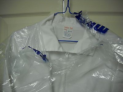 MENS WHITE ZIP front PROFESSIONAL NURSING JACKET/szL 44-46/preownd-nice!!