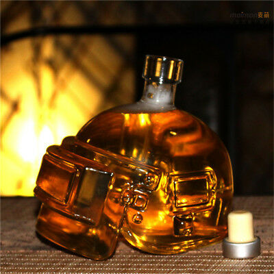 Helmet Shape Vintage Glass Decanter Liquor Crystal Whiskey Wine Bottle +Stopper