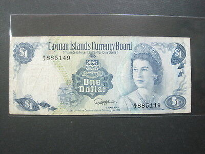 Cayman Islands $1 Dollar 1974 P5 British 72# Bank Currency Paper Money Banknote
