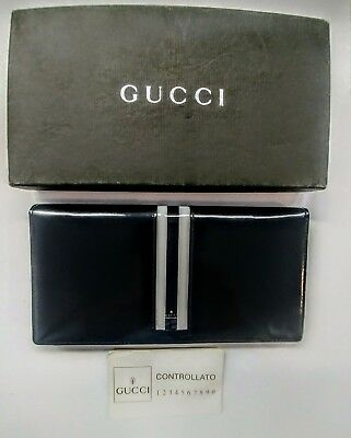 73a69cb96f1f Vintage GUCCI Black Patent Leather WHT Stripe Wallet Clutch with Box &  Dustcover