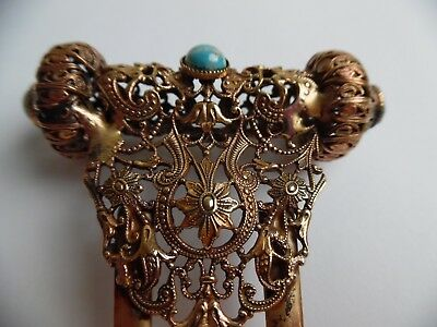 "Vintage Hair Comb - Ornate - Gold Tone With Stones - 4 1/2"" Long - Stunning!"