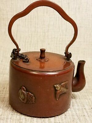 Miniature Tea Pot Inkwell Japanese Metal Bird Chrysanthemum Unusual Antique
