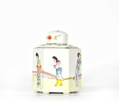A Chinese Porcelain Famille Decorated Tea Caddy