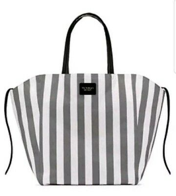 40508399b VICTORIA'S SECRET STRIPED Canvas Tote Bag Grey and White Beach Bag ...