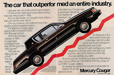 1984 Mercury Cougar-Outperformed The Entire Industry-Original 2 Page Magazine Ad